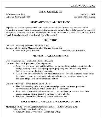 business professional resume example