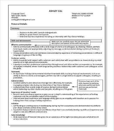 professional resume skills example