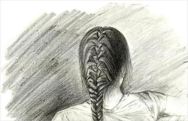 braided hair drawing