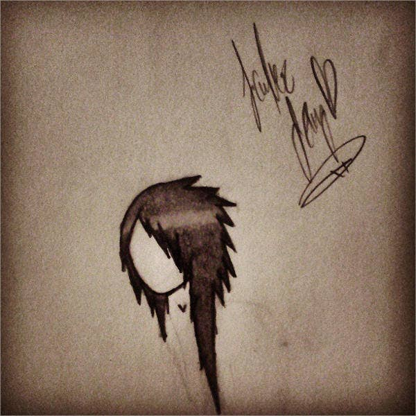 emo hair drawing