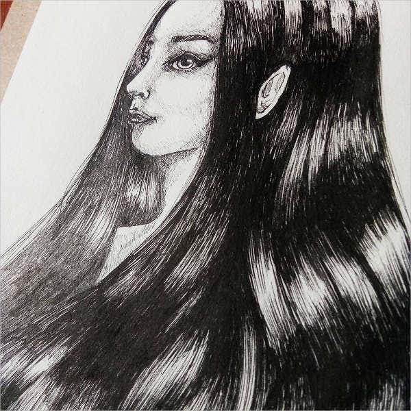 hair pencil drawing