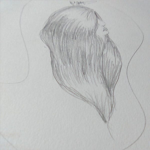 long hair drawing