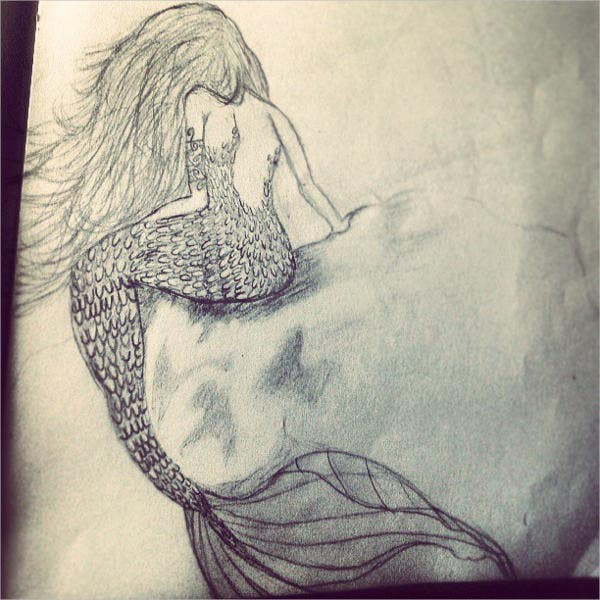 mermaid hair drawing