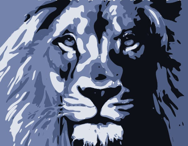 Lion Graffiti Stencil Art