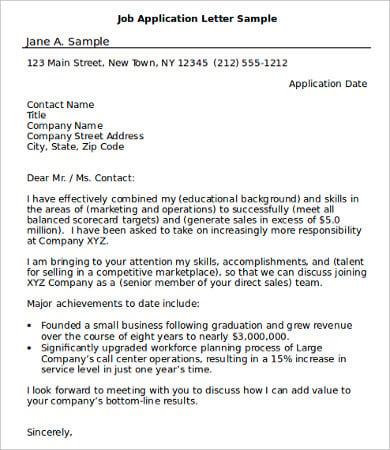 job application letter templates