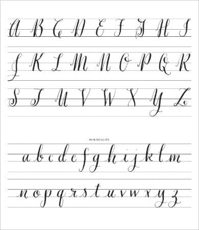 free printable calligraphy alphabet letters
