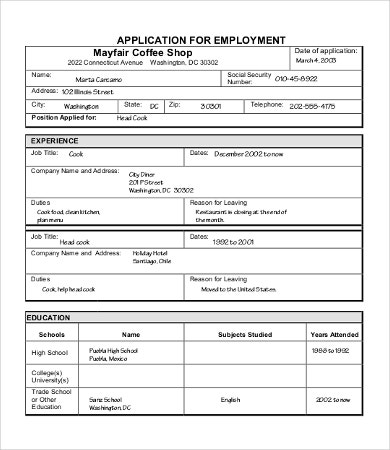 Sample Job Applications Blank Job Application Templates Sample