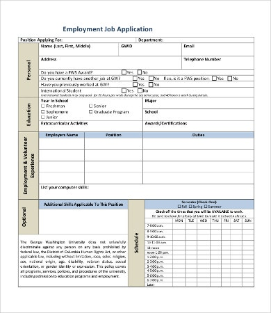 Employment Job Application