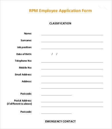 RPM Employee Application Form