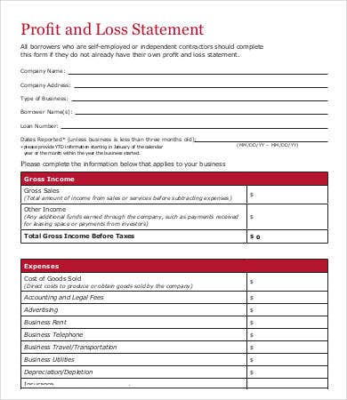 business profit and loss statement form
