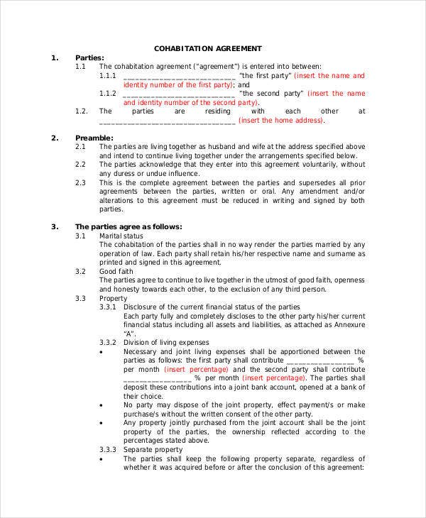 general cohabitation agreement template