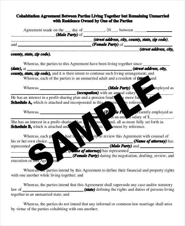 Cohabitation Agreement Template   Free Sample Example Format