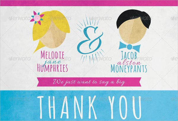Fun Wedding Announcement with Thank You Card