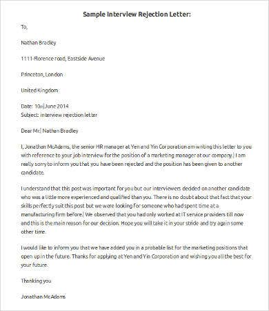 Job Application Letter Unsuccessful