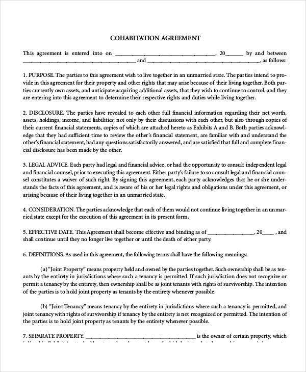 Cohabitation Agreement Template 7 Free Sample Example Format – Property Agreement Template