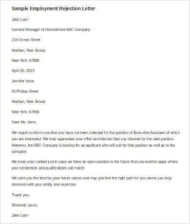 employment rejection letter