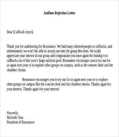 Best Rejection Letter   Free Word Pdf Documents Download
