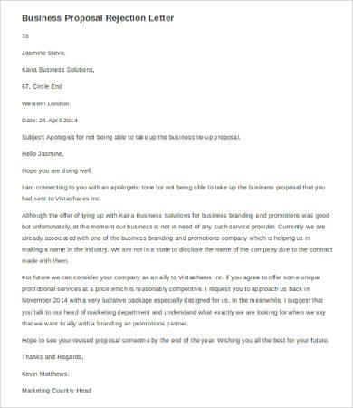 business proposal rejection letter