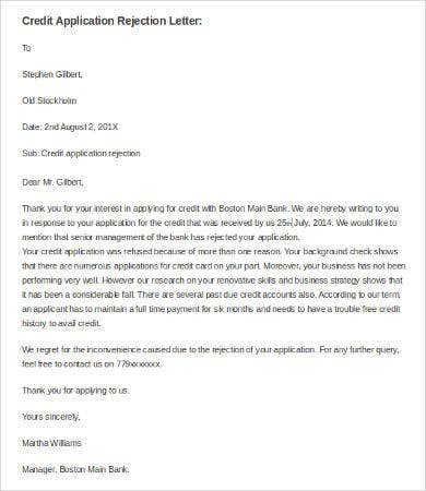 credit application rejection letter