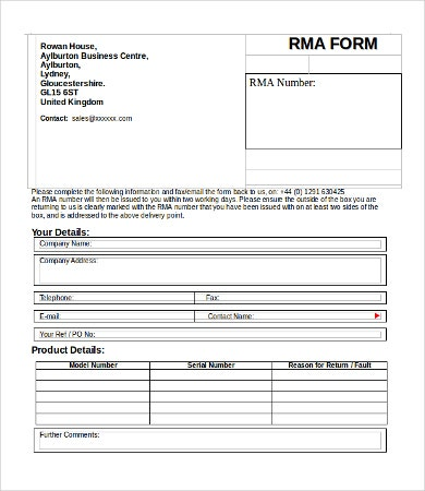 Invoice form 9 free word pdf documents download free for Rma request form template