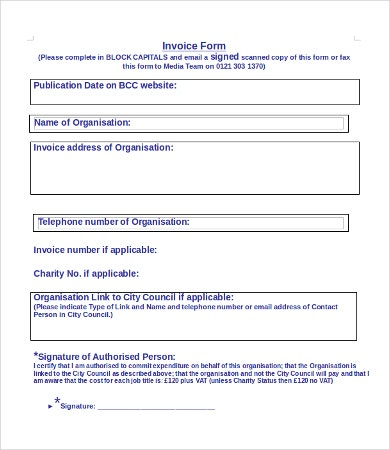 Printable Invoice Form
