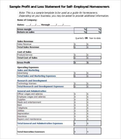 Printable Profit And Loss Statement Form