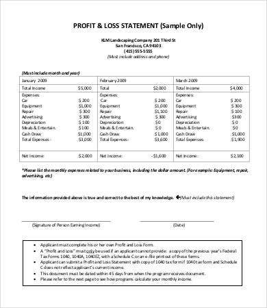 Profit And Loss Statement Form 9 Free Sample Example