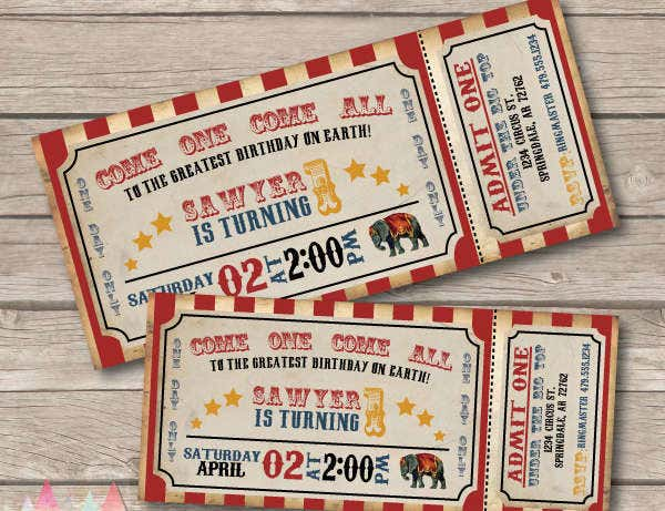 Carnival Circus Invitation Ticket