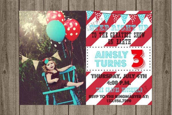 Birthday Party Carnival Invitation