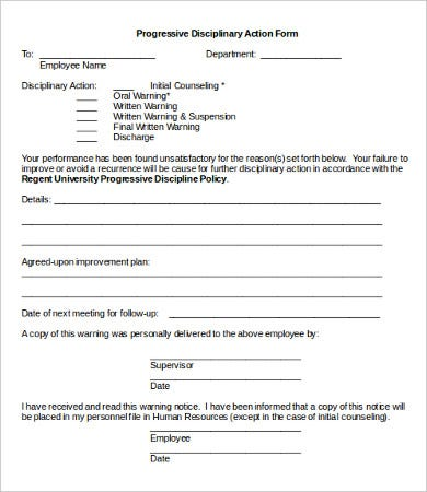 Disciplinary action form 20 free word pdf documents for Progressive discipline template