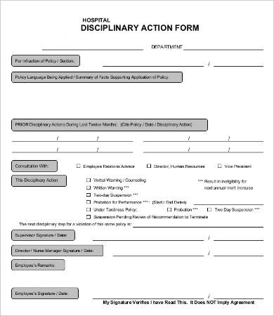 hospital disciplinary action form