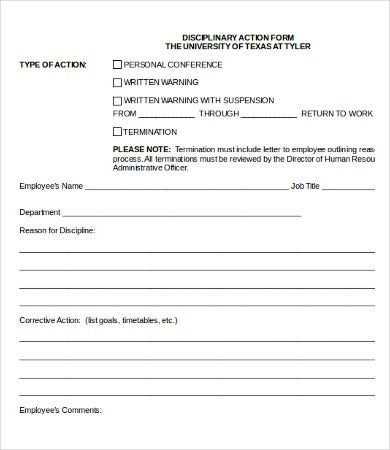 Free Employee Disciplinary Action (Discipline) Form - Pdf | Word