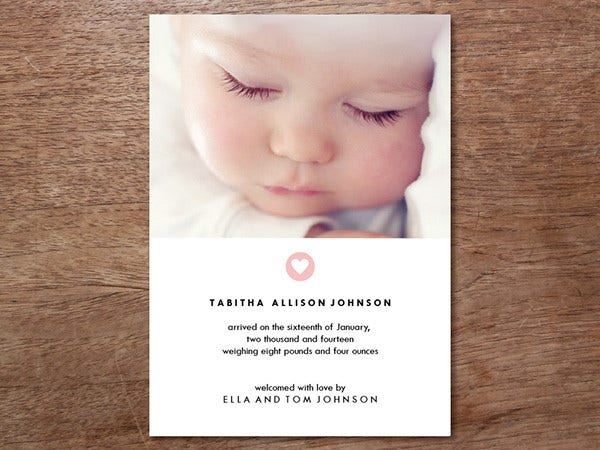 Photo Birth Announcement Card Design