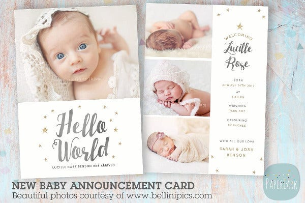 Newborn Baby Card Announcement