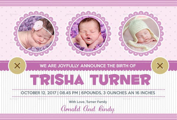 Classic Baby Announcement Template