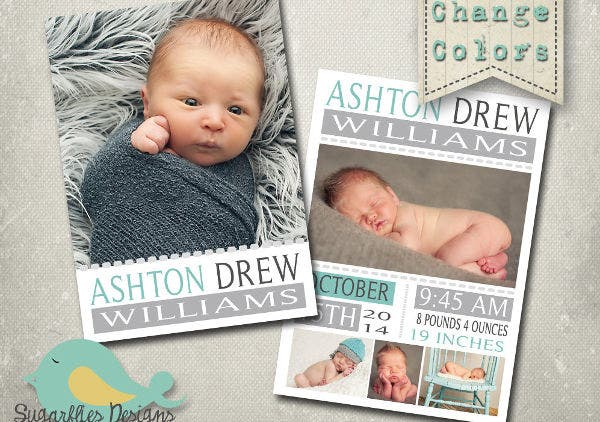 Boy Baby Announcement PSD Template
