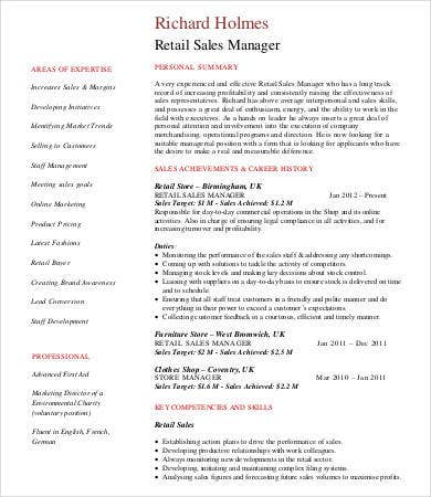 Retail Sales Manager Resume  CityEsporaCo