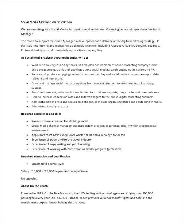 Social Media Assistant Job Description Sample