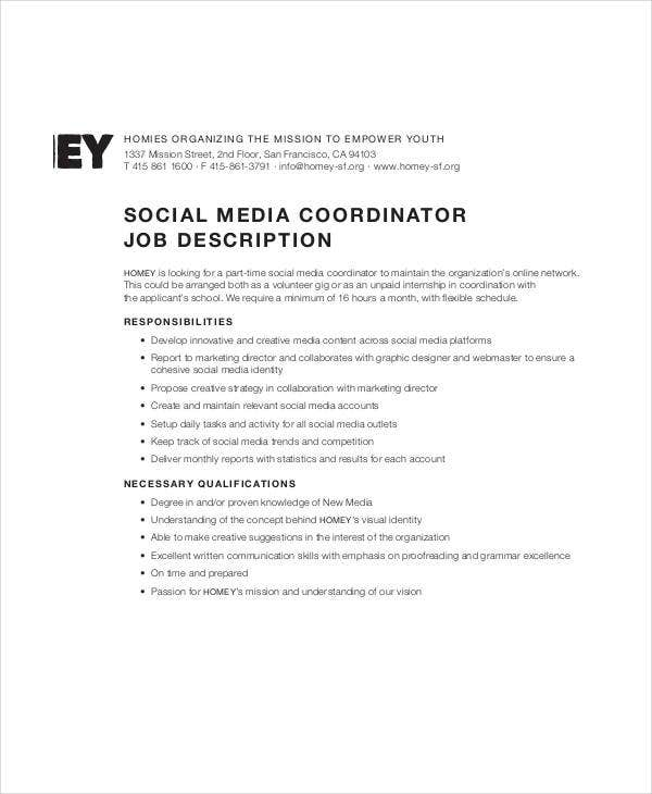social media coordinator job description