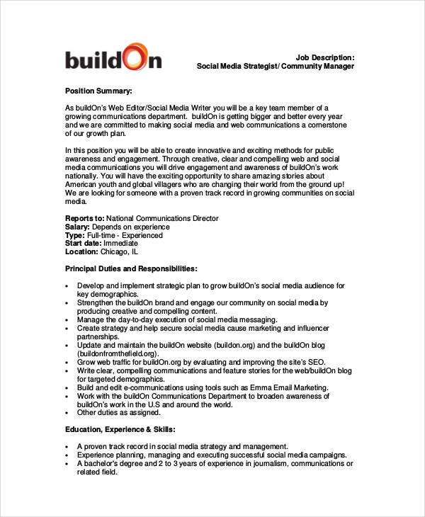 social media strategist job description