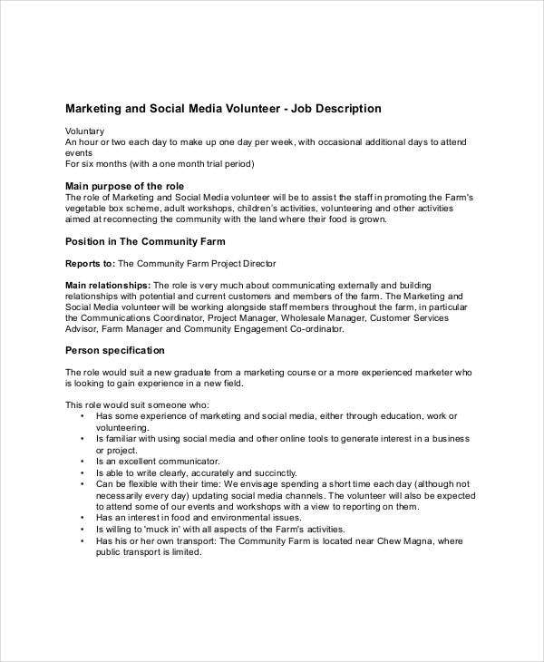 social media volunteer job description