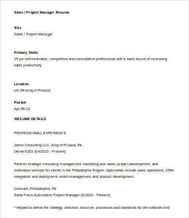 sales project manager resume