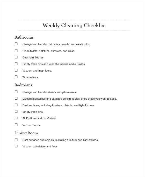 Weekly Checklist Template   Free Sample Example Format  Free