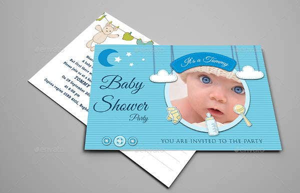 baby shower party postcard