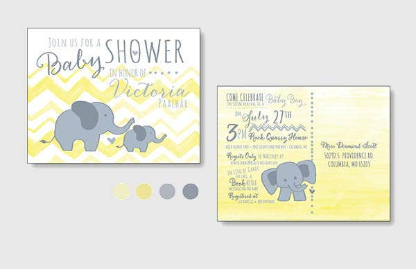 Watercolor Baby Shower Postcard