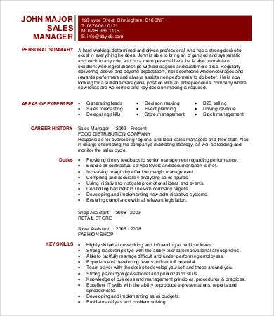 sales planning manager resume - Resume Samples For Sales Manager