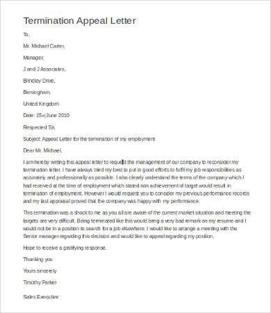 Sample Of Appeal Letter For Termination