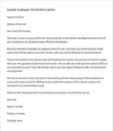 employee letter of termination