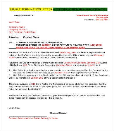 letter for termination of contract