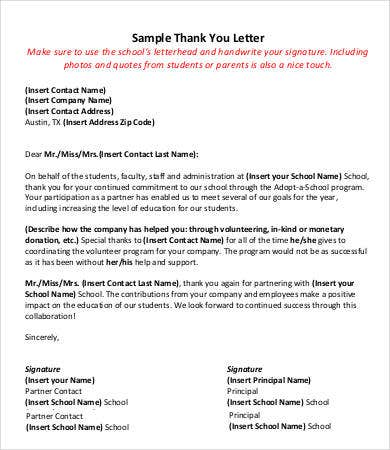 Principal Thank You Letter To Teacher